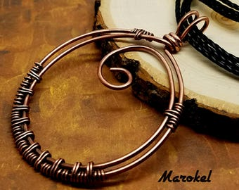 Circle Weave Necklace Oxidized Copper Wire Minimalist Wire wrapped