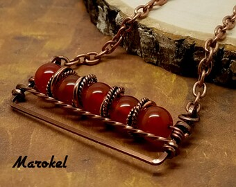 Red Fire Agate Bar necklace Horizontal Wire Wrapped Vintaj Wire Twisted Copper Minimalist
