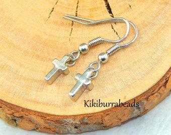 Silver Cross Earrings,Small Silver Cross Earrings,Tiny Cross Silver Earrings