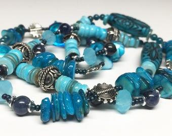 Blue Necklace, 28 Inch Blue Necklace, Mixed Blue Necklace