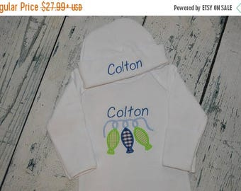 ON SALE PERSONALIZED Fish on String Infant Gown Hat set  baby Layette Monogram