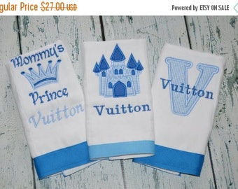 ON SALE Personalized Prince Burp cloth Set of 3  Burpies  Monogrammed