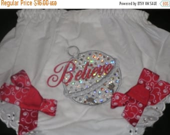 ON SALE Believe Christmas Bell  Bloomers Diaper Cover