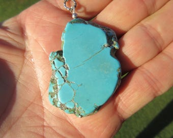 BIG BAD and BEAUTIFUL - Sterling Silver Chained Large Arizona Turquoise Pendant Necklace