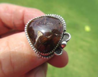 CLEARANCE SALE - Sterling Silver Mexican Fire Agate Ring - Size 9 - Green Fire