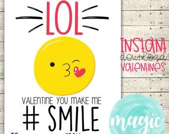 INSTANT DOWNLOAD Smile Emoji  Printable  Valentine for Valentines Day
