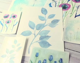 Botanical Watercolor Stickers and Postcards
