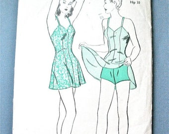 Early 1940s Bathing Suit Swimsuit Vintage Advance 3242 Sewing Pattern Swimming Suit   Bust 30 inches