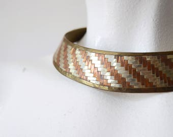70s/80s Brass and Copper Cuff Necklace - Large