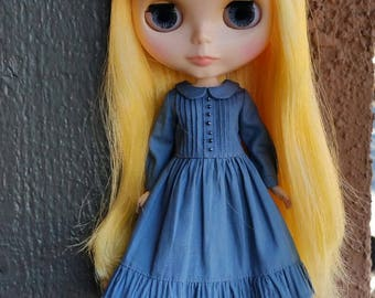 School Girl dress for blythe - Denim Blue