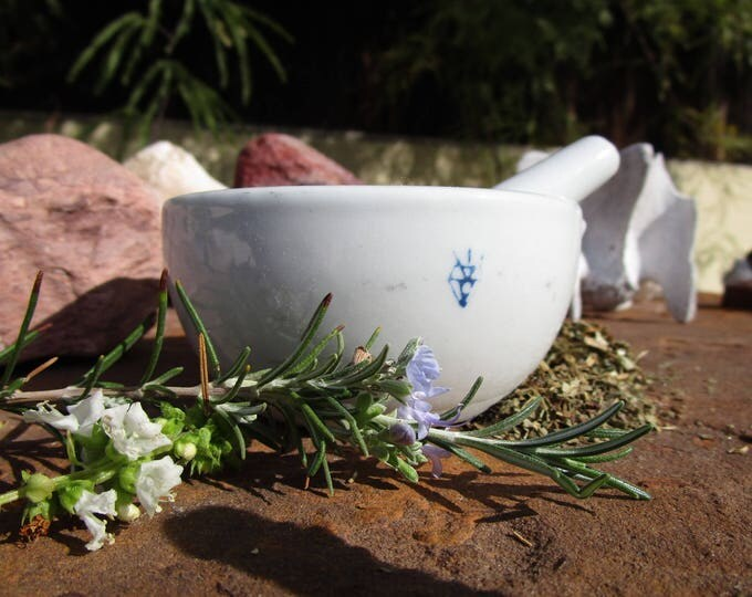 Featured listing image: SMALL Porcelain Mortar and Pestle~130ml~Three Sample Herbs Included