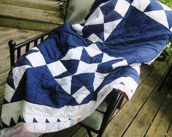 Blue white quilt,unfinished quilt, star quilt, unfinished patchwork, craft project, blue star quilt, country decor, quilt topr