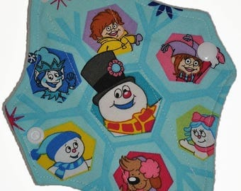 Liner Hemp Core- Frosty and Friends Reusable Cloth Petite Pad- WindPro Fleece- 6.5 Inches