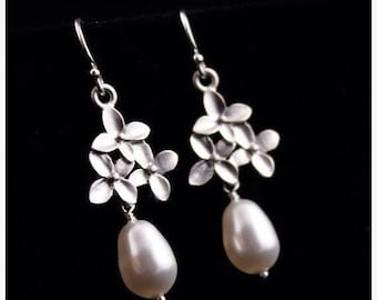 ON SALE Bridal Earrings Set of 7 Cherry Blossom Flower and Pearl Silver Wedding Earrings