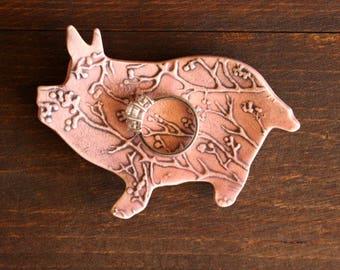Ceramic PIG Ring Dish - Cute Handmade Pink Porcelain Textured PIG Ring Dish - Ready To Ship