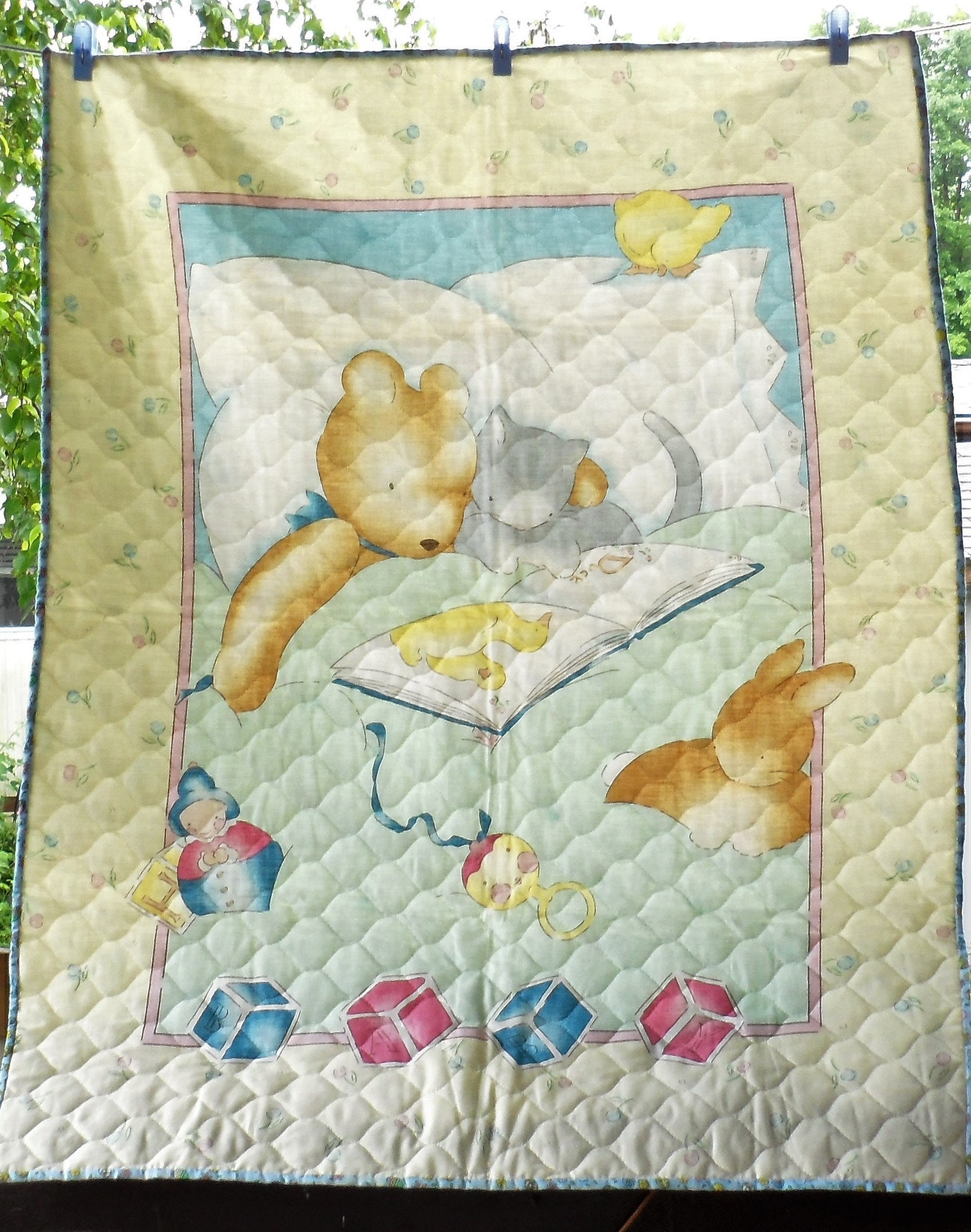 Vintage Baby Unisex Panel Quilt Pre Quilted Fabric Panel Small