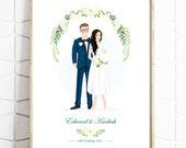 Custom Wedding Portrait - Personalised Couple Drawing - Illustrated Wedding Gift - Bride & Groom - Print -Digital File
