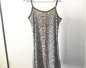 Vintage 90s Leopard Velvet Mini Slip Dress