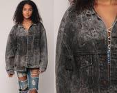 Denim Jacket Grey Jean Jacket ACID Wash Trucker Faded Black Grunge Biker Vintage Button Up 1980s Hipster Collared Retro Extra Large xl