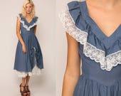 Boho Dress 70s Midi LACE Prairie Ruffle Flutter Sleeve Blue Polka Dot Country Dance 1970s Hippie Bohemian High Waist Vintage Medium Small
