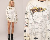 Graphic Sweatshirt Us CIVIL WAR HISTORY Shirt 90s Retro Guns Cannons Slouchy Jumper Pullover 1990s All Over Print Vintage Extra Large xl
