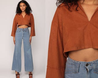Crop Top Bohemian Faux Suede Blouse 70s Hippie Shirt Festival Boho Top Brown 1970s V Neck Vintage Long Sleeve Small Medium