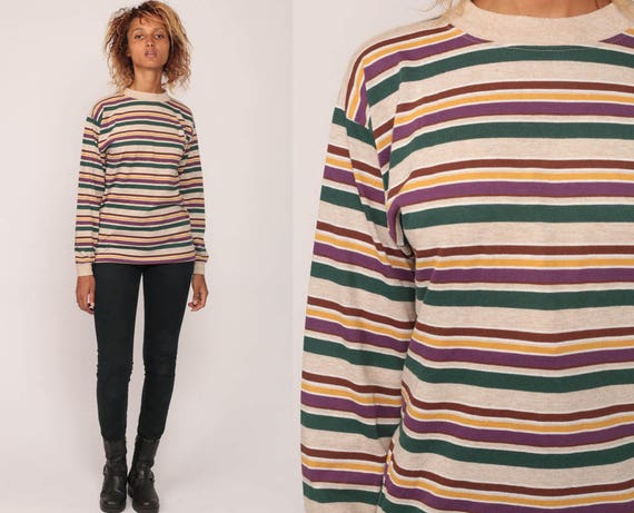 Long sleeve tshirt striped shirt 80s t shirt ringer tee geek for Retro long sleeve t shirts