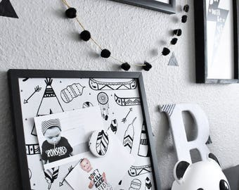 Framed Magnet Board, TeePee Decor, Magnetic Photo Board, Kids Bedroom, Wall Decor, Monochrome, Message Board