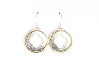 """Round dangle sterling silver earrings in a Moroccan style with a hand sawed cutout framed by a thin brass circle washer - """"Farah Earrings"""""""