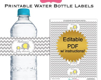DIY editable printable water bottle labels PDF (No.35p) gray elephant baby shower favors Digital File
