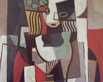 Woman with a Book by Pablo Picasso,  Modern Art Print, Unframed Print, Book Print, 11.25 x 16 in. Vintage Book Page