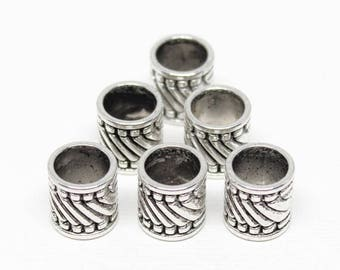 20% OFF Tubes - Pewter 10x10mm Short with Diagonal Stripes (4 tubes) - spa732