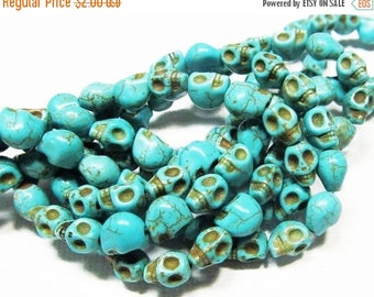 20% OFF LOOSE Gemstone Beads - Reconstituted Howlite Beads - tiny 6x7x8mm Carved Skulls - Turquoise Blue (8 beads) - gem947