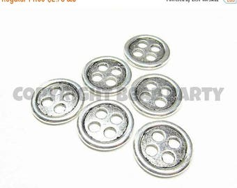 50% OFF - Metal Beads - Antiqued Silver Pewter 20mm Simple 4 Hole Buttons (6 buttons) - spa674