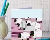 Dog Card - Sheep Card - North York Moors - Moorland Card - Dog Meets New Friends
