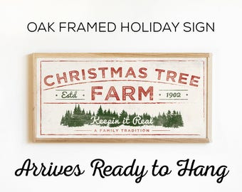 Framed Christmas Tree Farm Sign - Rustic Holiday Art For Country Farmhouse