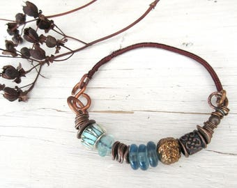 A rustic, primitive copper bracelet with recycled glass beads from Ghana: Light Of The Heart !!!!!