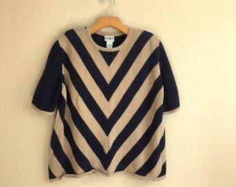 Vintage NAVY Blue And Tan CHEVRON Knit Top / Koret / Womens Size Large / Oversized & Loose Chevron Shirt