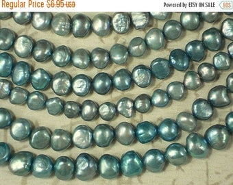 ON SALE Aqua Pearls Side Drilled Nugget Freshwater - Full Strand (4205)