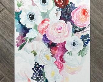 The Light & Dark Floral Watercolor Painting - floral- flowers - colorful Art - sketchbook ARt - Nursery ARt - feminine art
