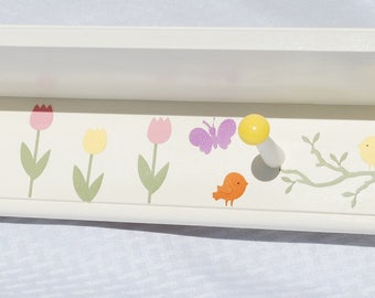 "Kids Shelf with Pegs . 46"" Long . Hat Rack . Wall Hooks . Personalized Coat Rack with Shelf . Tulips"