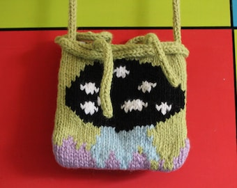 Hand knitted chunky across body bag