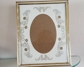 vintage picture frame mother of pearl faux easel gold tone metal beaded design 1960s 8 by - Mother Of Pearl Frame