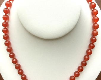 High Quality 8mm Carnelian Bead Necklace With Brass Toggle