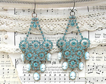 showstopper rhinestone earrings assemblage blue cameo sparkling recycled jewelry bling glitz glam