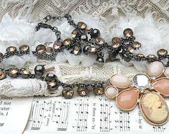 peaches n cream cameo necklace assemblage upcycled jewelry fall autumn goddess restyled flea market finds betty watkins