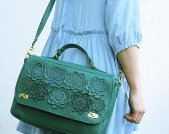 SALE GREEN Leather bag womens succulent, leather purse   ipad bag Cross Body Bag  Floral Bag leather spring fashion greenery, messenger for