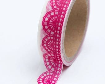 25% Off Summer Sale Washi Tape - 15mm - Hot Pink Lace Design on White - Deco Paper Tape No. 622