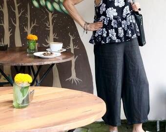 Linen, Culottes, Dropped Crotch, Wide Leg, Loose Fit, Plus Size, Yoga Pants, International Size 8-26