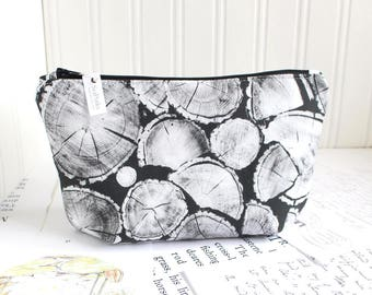 Cosmetic Bag Black and White Makeup Bag Woodland Timber Logs Zipper Pouch Organizer